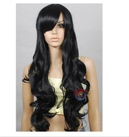 new Hi_Temp Series Black Curly wavy Long Cosplay Wigs