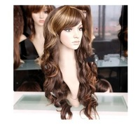 Beautiful stylish long mixed curly brown hair Halloween Cosplay wig