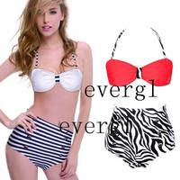 50s Retro Pinup Rockabilly Vintage High Waist Bikini Swimwear Swimsuits s M L XL