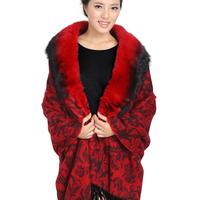 Wool fox fur cape scarf large female 2013 thickening