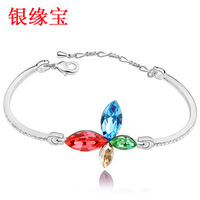 Day gift silver austria crystal bow bracelet female
