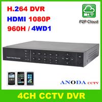 960H WD1 4CH H.264 DVR StandAlone Network P2P Cloud Mobile View HDMI Output CCTV DVR Recorder