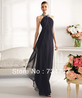 Low Price Elegant Halter Evening Dress Formal Dresses Chiffon Fabric Sequins Beaded Floor Length Zipper Back Sleeveless Classy