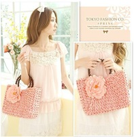 Vivi2013 flower straw bag fashion wooden bead handle hand woven bag beach bag