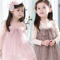 Kids Girls Bow-knot Long Sleeves Tulle Dress One Piece Tutu Dress  1-7Y XL150 Free shipping & Drop shipping