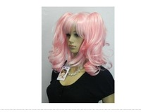 charming pink good COSPLAY Can heated Split Type Curly wig