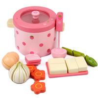Baby Mother Garden Pot Vegetable Brush Pot Wooden Children Play Toys Kitchen Toys Hobbies Girl's Gift Free Shipping