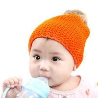 Autumn and winter baby hat ball male girl warm hat earmuffs child yarn knitted hat