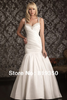 Free Shipping Sexy Two-Shoulder Sweetheart Ruched Beaded Taffeta Train Bridal Gown Mermaid Wedding Dresses 2013 New Arrival