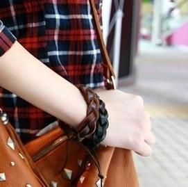 Sunshine jewelry store fashion knitted couple leather bracelet S227 ( $10 free shipping )