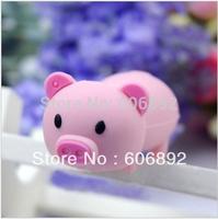 Retail genuine 2G/4G/8G/16G/32G cute pig style flash drive silicone usb flash drive Free shipping