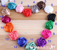 200pcs/lot 1.38 inch rose flower DIY clothing headdress Baby Kids mix colors Satin Rolled Ribbon Hair Wedding accessory