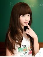 Supply of Korean wig hair wig Qi Liu wig Tail Large flat bangs wig