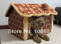 New Vintage Antique Brick Pattern Chimney Rooms Cottages Pet Dog House Can Dismantle Washable Teddy Pet Home Sofa Bed Kennel