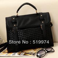 women's fashion handbag crocodile pattern patent leather handbag female ol bags double buckle bag portable cross-body bag