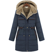 Winter fashion Women's coat slim wadded jacket with a hood thickening liner medium-long cold-proof cotton-padded jacket