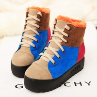 Free shipping 2013 fashion color block decoration platform winter snow boots Women's Boots cotton-padded shoes