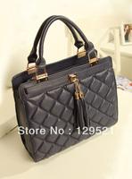 Classic fashion trend 2014 high quality tote plaid women leather handbag tassel bag shouder bag for women messenger bag w