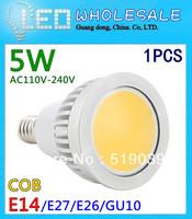 X1  Dimmable LED COB Bulb E14/GU5.3/MR16 5W Lamp Pure/Cool/Warm White AC110-240V LED Spotlight 120 degress
