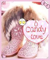 Fox fur rabbit fur tassel pearl handmade gem rhinestone petals gaotong genuine leather snow boots