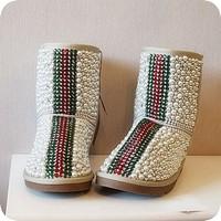 Luxury stripe short pearl snow boots rhinestone cowhide snow boots vintage gem boots