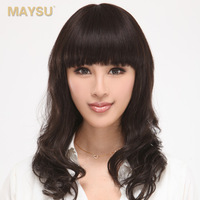 Real hair qi long curly hair fluffy bangs full wigs hand-woven rebecca msz035