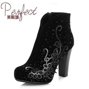 Fashion print beaded 2013 martin boots fashion elegant genuine leather sheep velvet boots