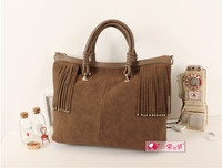2013 new Occident frosted tassels handbag fashion big joker frosted material one shoulder aslant handbag free postage