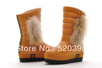 2013 fashion winter boots genunine leather Height Increasing elevator warm snow boots round toe flat high-leg boots waterproof