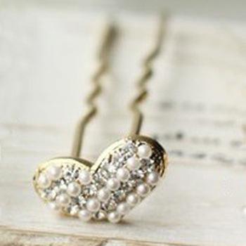 Sunshine jewelry store fashion sweet pearl heart hairpin hair stick for women F119 (  $10 free shipping  )