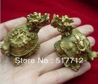 FREE P&P*****Tibet pair carved trad copper Dragon Turtle Statues