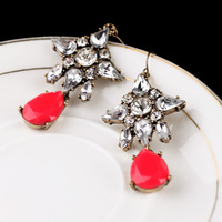 MIN/MIX Order $10.0 Free Shipping New Hot Famous Brand Retro Encrusted Crystal Floral Red Stone Waterdrop Lady Charm Earrings