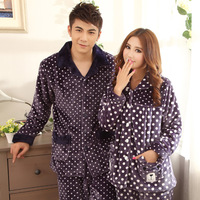 Autumn and winter thick male women's noble flannel coral fleece sleepwear long-sleeve lovers set