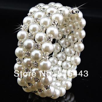 3pcs 5 rows Clear Czech Rhinestones Stretchy Women Pearl Bangles Bracelets Wholesale Jewelry Lots A-688