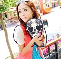Free shipping 2014 simple fashion PU leather handbag bag skull rivet lady evening bag retro bag wallet
