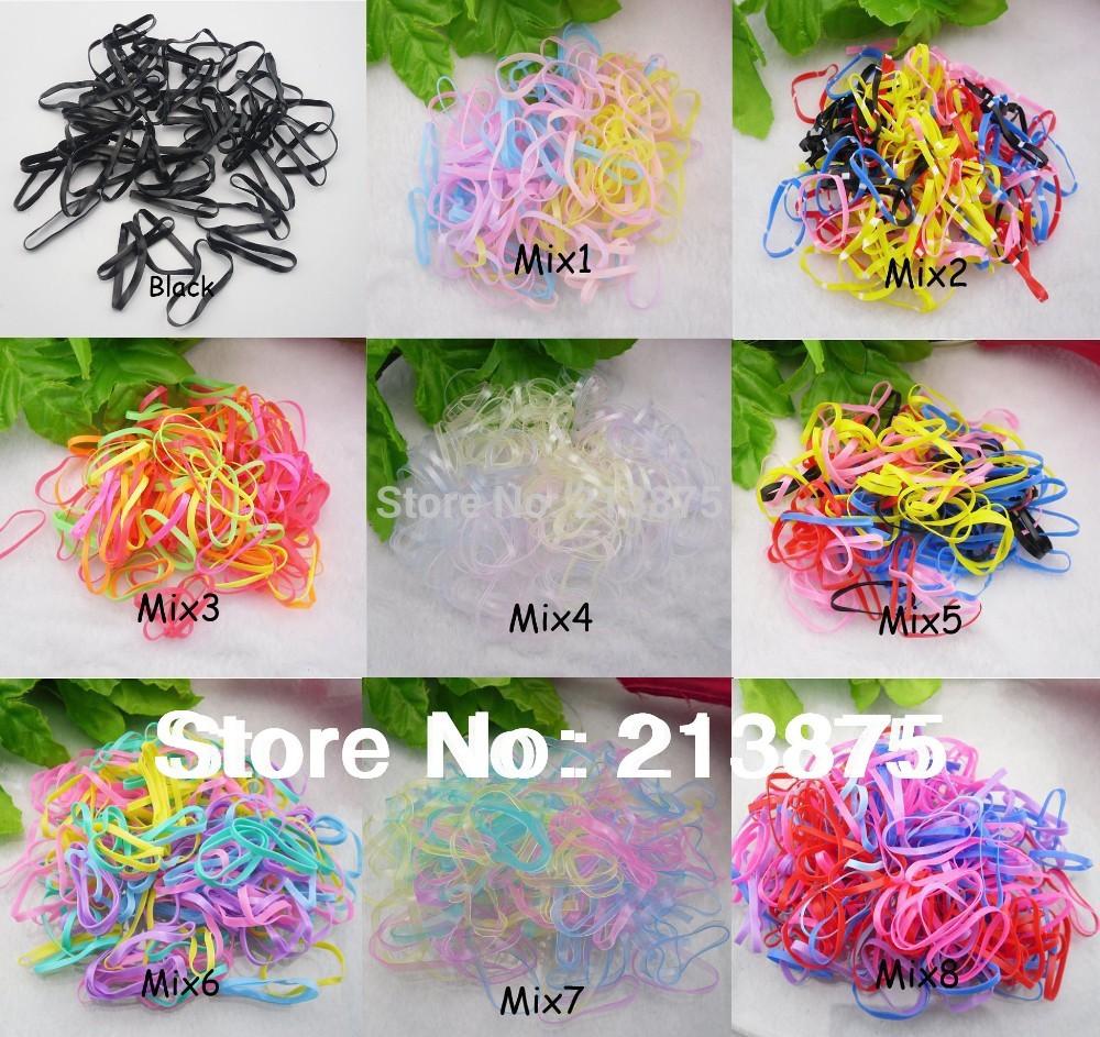 Wholesale large quantity 400pcs Rubber Hairband Rope Ponytail Holder Elastic Hair Band Ties Braids Plaits(China (Mainland))