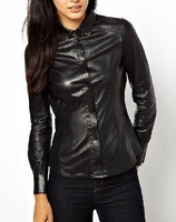 Black PU Leather Stretch Slim lapel long-sleeved blouse  pu leather shirt