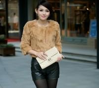 2013 fur rabbit fur short coat design fur o-neck short design three quarter sleeve fur coat