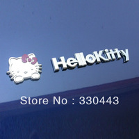 FREE SHIPPING ! 1PAIR 3D Metallic  HELLO KITTY Car Stickers Cute Cartoon Sticker Car decal sticker