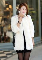 Fur coat rabbit fur medium-long outerwear 2013 short design three quarter sleeve