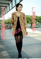 Fashion slim 2013 rex rabbit hair leather hare wool cape overcoat medium-long fur coat