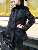 2014 rabbit fur winter fur stand collar rabbit fur outerwear long design Women rabbit fur overcoat  dress women vestidos casual