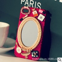 Handmade Rhinestone New Fashion Phone Case Luxury Barbie mirror Protective Case Mobile Phone Case For iPhone 5 4S