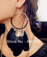 Bohemian Fashion Wholesale Jewelry Manufacture Long Feather Big Hoop Earrings
