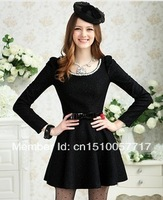 Hot selling 2014 Women Ladies Sexy Cotton Casual Lace Dress S M L XL For Spring and Autumn PromotioLady grace wool dress