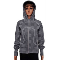Free shipping 2013 LULULEMON yoga jacket hoodies diving sport coat jacket female fashion gray plaid sweater size 2-12