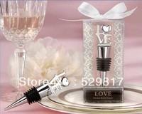 "free shipping !!! 2pcs Wedding Favors ""LOVE"" Chrome Wine Bottle Stopper"