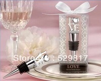 "free shipping !!! 2pcs Wedding Favors ""LOVE"" Chrome Wine Bottle Stopper"