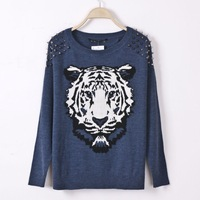 Long Sleeve Cardigan Sweater Pullover Women Fashion Winter Tiger Rivet Black/Blue M.L