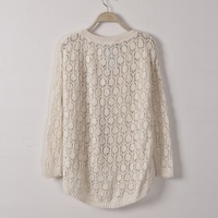 Free Shipping New Fashion Woman Autumn Sweater Pullover Long Sleeve Crochet Jook Red/White